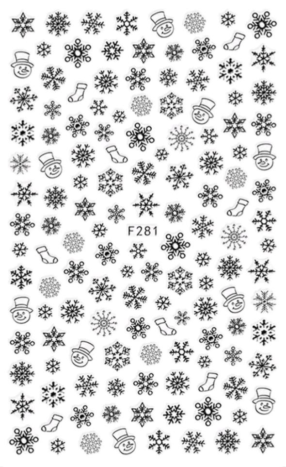 Nálepky na nechty - Vločky F281
