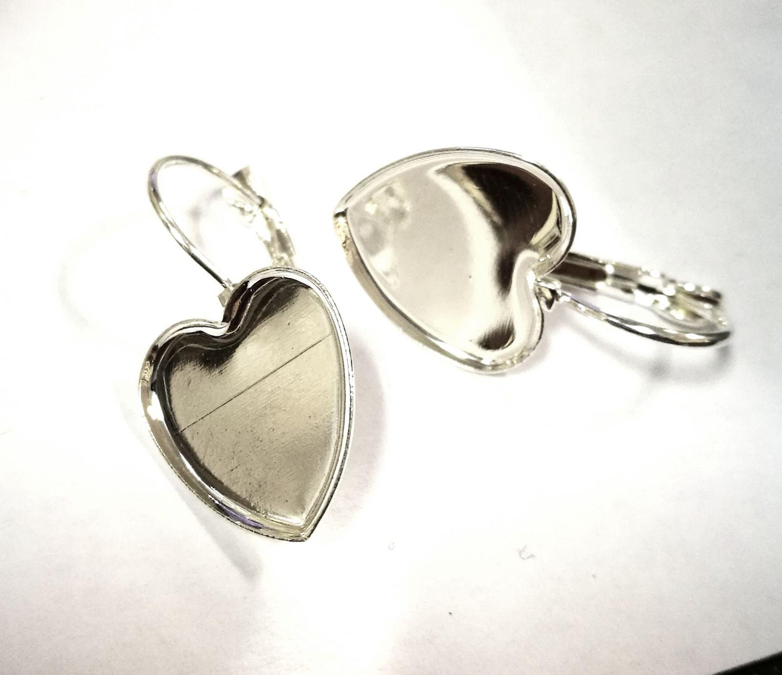 Náušnice lôžko - Srdce 15x15mm pár