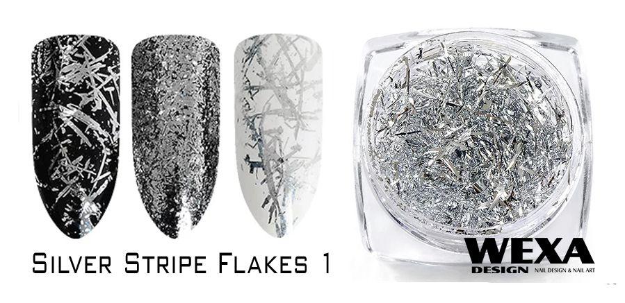 Silver Stripe Flakes na nechty 1