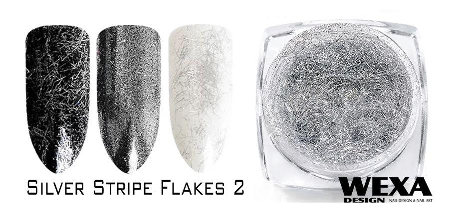 Silver Stripe Flakes na nechty 2