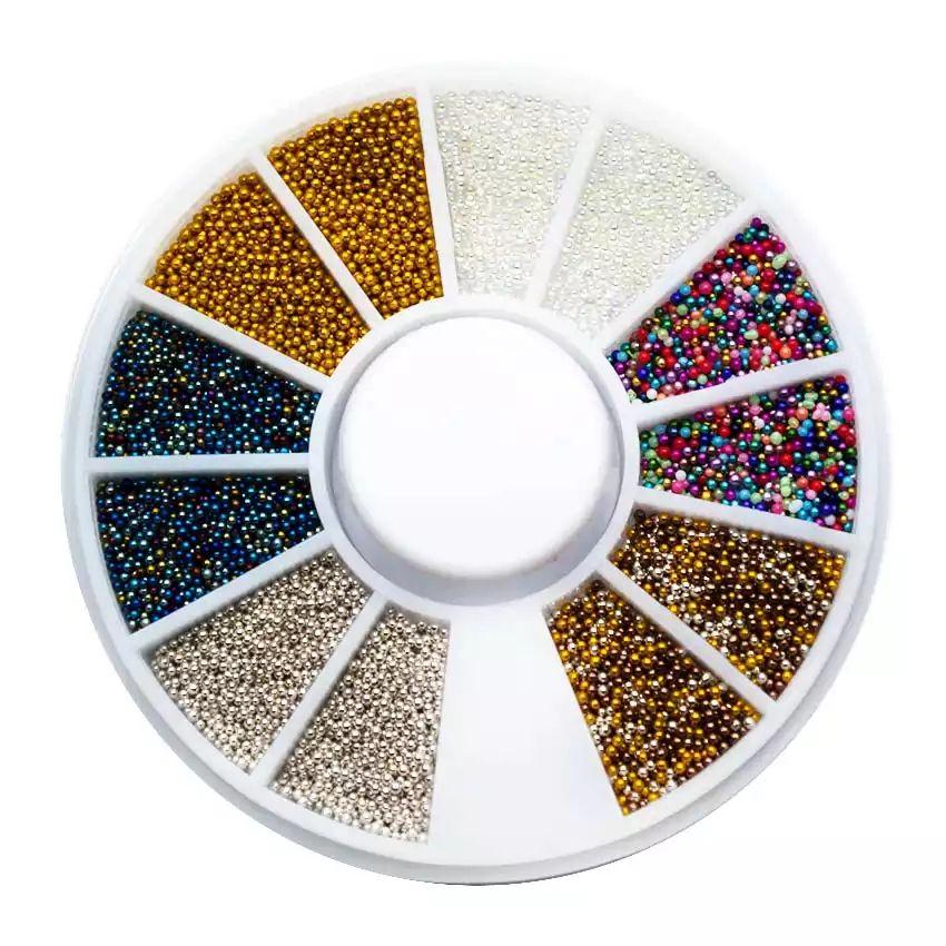 Perličky na nechty kolotoč 6 farieb