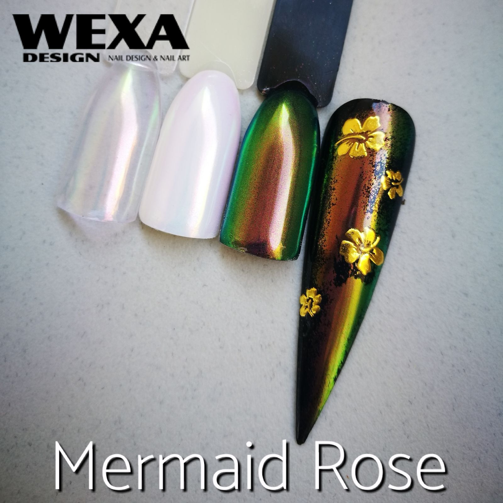 Mirror Powder na nechty Mermaid Rose