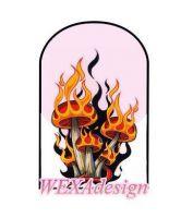 Nail Tattoos - Muchotrávky v plameňoch -57