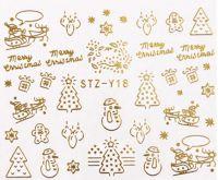 Vianočné vodolepky STZ-Y18 gold