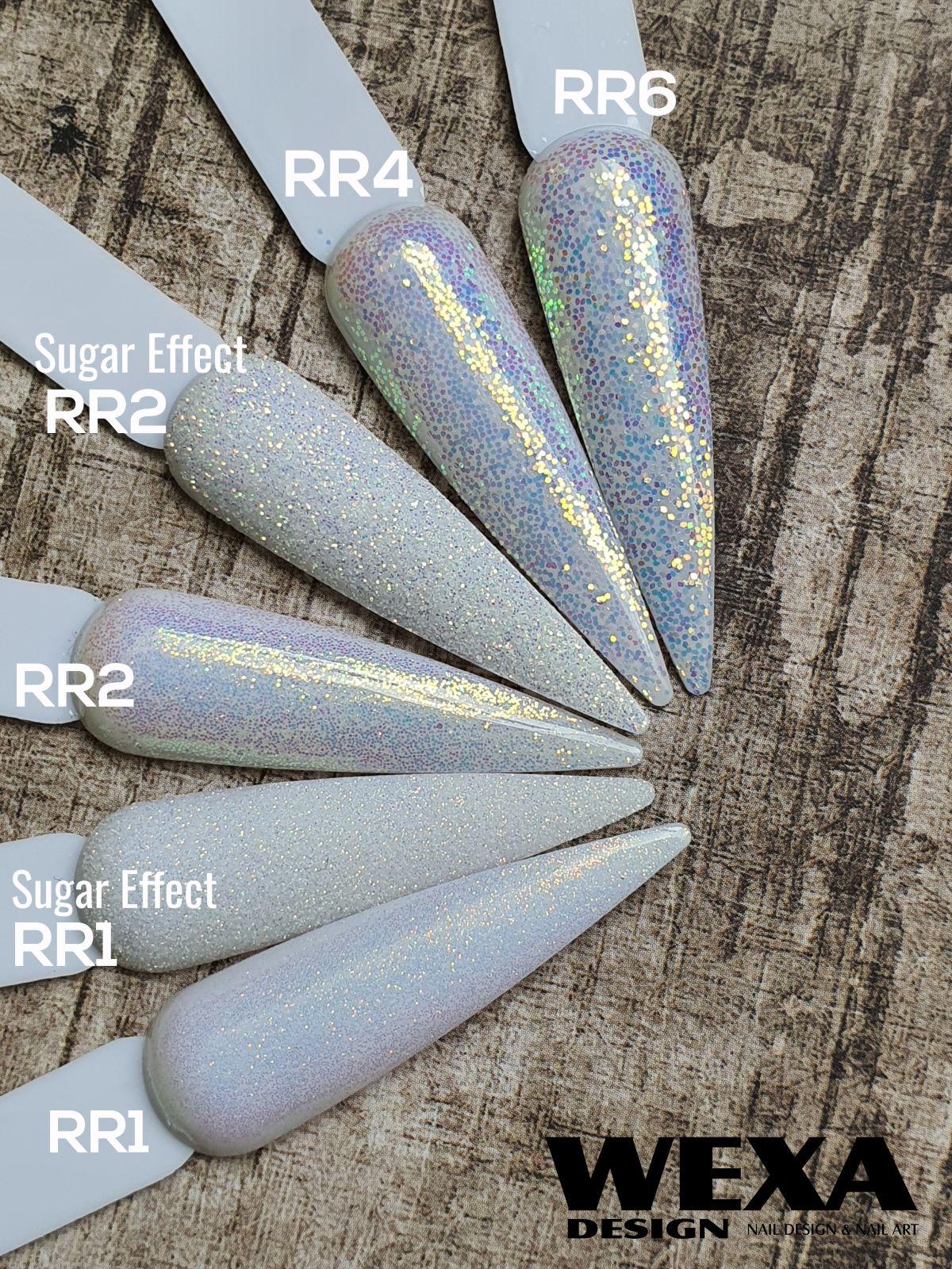 Trblietavý prášok na zdobenie nechtov RR zlaté odlesky