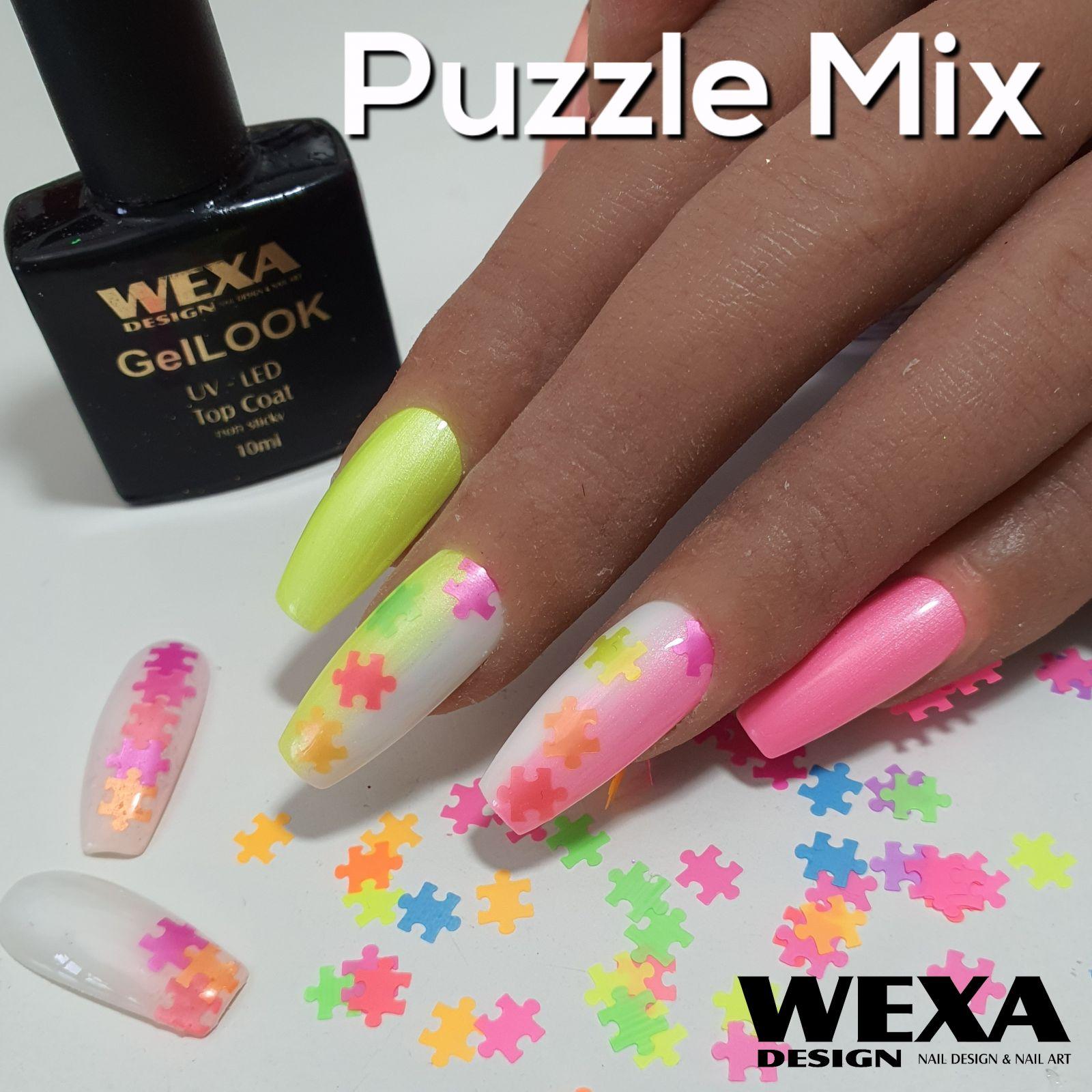 Neónové konfety na nechty PUZZLE Mix