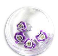 FIMO ružičky s kryštálikom - 1 sýta fialová
