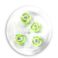 FIMO ružičky s kryštálikom - 5 sýta zelenkavá