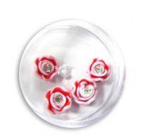 FIMO ružičky s kryštálikom - 6 červená