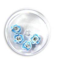 FIMO ružičky s kryštálikom - 7 bledomodrá