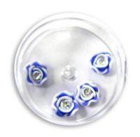 FIMO ružičky s kryštálikom - 8 modrá