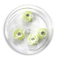 FIMO ružičky s kryštálikom - 9 pastel žltá