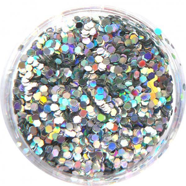 Konfety flitre malé - 14. striebroné metal hologram
