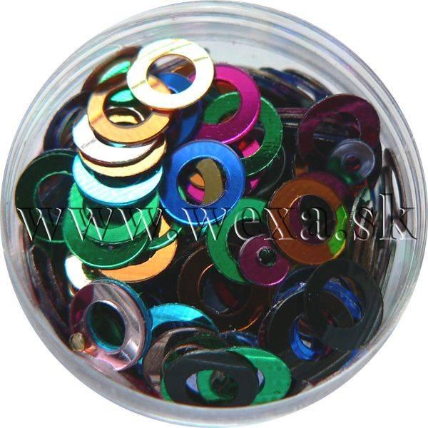 Konfety na zdobenie nechtov flitre obrúčky - metal MIX