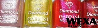 Farebný lak na nechty s diamantovým prachom